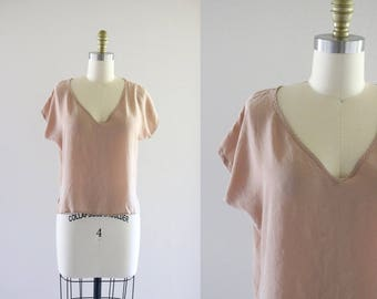 barely there nude silk blouse