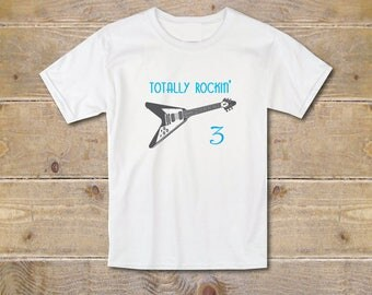 Guitar Birthday Shirt, Guitar Tee, Third Birthday T-Shirt, 3rd Birthday Shirt, Guitar, Boy's Youth, Trendy, Graphic T-Shirt, Guitar