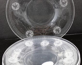 Set of 4, Heisey, Pied Piper, Etch No. 439, 6 Inch Crystal Plates