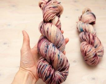 Hand dyed yarn - Superwash merino, DK yarn, light worsted yarn, hand dyed, speckled yarn, pink yarn, speckled red yarn, blue yarn, speckled