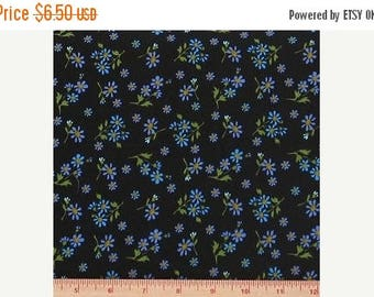 ON SALE Purple and Blue Small Flowers on Black 100% Cotton Quilt Fabric Blender for Sale, Positively Poppies by Blank Textiles, Material by
