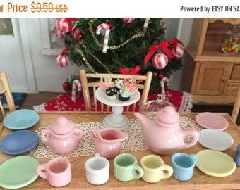SALE Miniature Art Deco Tea Set, 17 Pieces, Dollhouse Miniatures, 1:12 Scale, Dollhouse Tea Set, Pink, Blue, Yellow, White