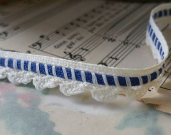 Charming Cotton Scalloped Oxford Blue and White 7mm Trim - New Old Stock - 10 Yards
