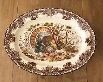 Vintage Large Brown Transfer Ware Transferware Thanksgiving Turkey Platter Japan