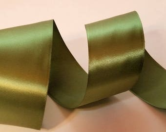 Olive Green Wired Satin Ribbon Woven Edge Made in England 2 inch width 15 ft for crafts, wreath bows, floral, gift wrap, Autumn Table decor
