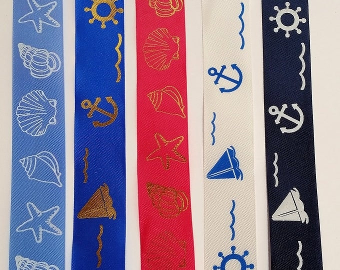 NAUTICAL Printed RIBBON Assortment, 5 Boat or Shell motif, 30 feet total (5 x 2 yds ea) of Nature's Choice Gift Satin Ribbon made in England