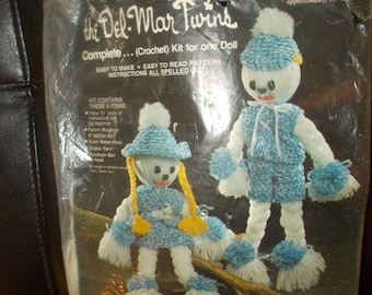 the Del Mar Twins Crochet Kit to make a Doll Vintage Crochet Kit to make Doll