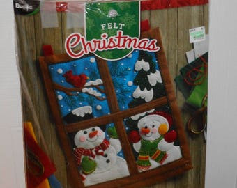 Winter Window, Bucilla Stocking Kit, Felt and Embroidery Craft Kit to make wall hanging