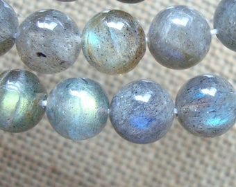 "10mm, 8"" strand, Natural Labradorite Smooth Round Bead, Blue Green Gold flash, 10AB"