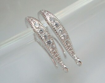 Bulk 5 pairs, 18x10mm, 925 Sterling Silver French Ear wire with CZ, Rhodium plated, Earring Findings - EW-0054