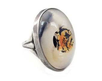 Sterling Silver Moss Picture Agate Ring - Sterling SIlver, Modernist Ring, Quartz Stone, Vintage Ring, Size 6