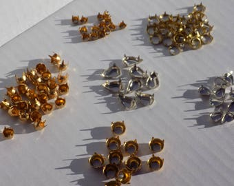 Rhinestone Settings Gold Plated Silver Plated Pronged Assorted Sizes & Shapes
