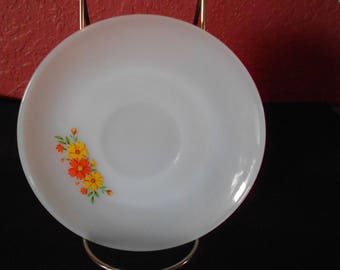 Vintage Anchor Hocking, Fire King Saucer, Orange and Red Flowers with Green Leaves,