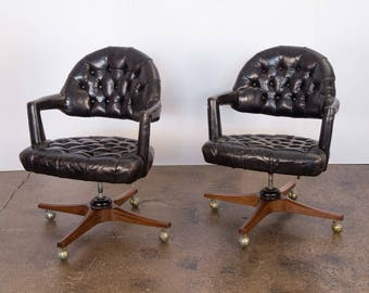 Pair of Dunbar Tufted Swivel Chairs by Edward Wormley