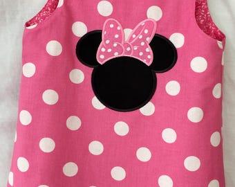 Custom Boutique handmade Minnie Dress 12mo 18mo 2 3 4 5 6 7 8