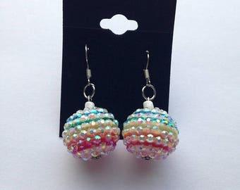 BIG Clearance Sale Pastel Rainbow Rhinestone Resin Bead Earrings