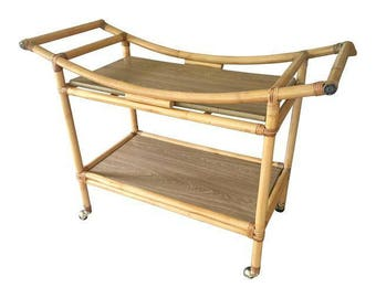 Mid Century Bamboo Bar Cart