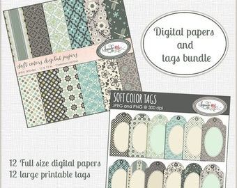 50%OFF Digital paper and gift tag bundle, soft colors floral digital papers and printable tags bundle, digital papers and printable gift tag