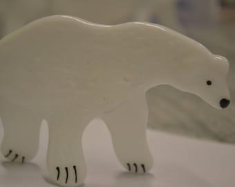 Polar Bear, Fused Glass, Christmas Decor, Winter Decor, Christmas Figurine, Glass Polar Bear, Alaska Animal, Artic Animal, Hand Painted