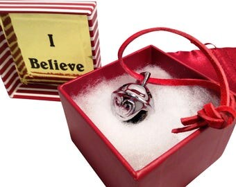 I Believe Real Silver Chrome Polar Classic Sleigh Bell Express in Elf Deco Box