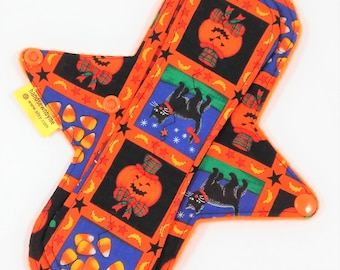 "9"" Light /Mod Flow Cloth Menstrual Pad, Halloween Pad, Woven/Quilters Cotton Top, Exposed Core,Zorb Absorbency,Anti Pill Fleece Backing RTS"