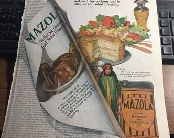 Mazola ad 10 1/2 x 13 original 1921 full color graphics large. Kitchen art.