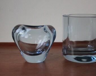 Vintage Holmegaard Aqua Blue Glass Vase by Per Lutken, Signed, Denmark, 2 available