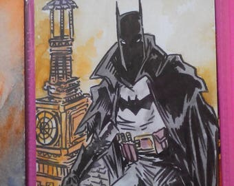 Batman Gotham by gaslight aceo watercolour and ink by boo rudetoons comics JusticeLeague