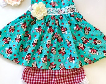 Disney minnie mouse top and shorts set, girls top and shorts, baby outfit, toddler outfit, swing top, summer outfit, party dress