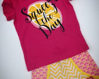 Pink lemonade shorts set, vinyl shirt, squeeze the day, summer outfit, shorts shirt set, trendy tee, Coachella shorts, girls, baby, toddler