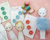 Darling Doll Notions Micro Miniature Sewing Buttons Cards Wood Thread Spools Ribbon Lace Paper Bobbins For Display Memory Box Keepsakes