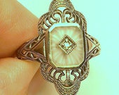 Size 7, Vintage Camphor Glass Ring, Sterling Silver Filigree, Edwardian Fantasy, Art Deco Ring, Victorian Style, Diamond Ring