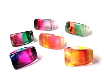 Lot of 6 Vintage 90s retro Colorful Plastic Mod Rings Sizes 7 - 9