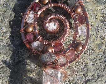 Sacred Spiral/Clarity///Quartz, Tourmaline and Copper Wire Wrap Pendant, One of a Kind, Handmade, Art