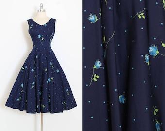 Vintage 50s Dress | 1950s blue rose print | Gay Gibson cotton dress | xs/s | 6015
