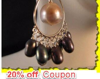 Pearl Chandelier Earrings,pearl earrings,silver earrings,chandelier earrings,fresh water pearl, cluster earrings,drop earrings,dangle,pearl
