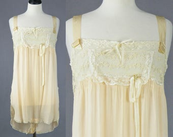 Vintage 1920s Chemise Step-in Teddy Lingerie, 20s Silk Lingerie, Pale Peach Silk and Embroidered Net Lace Camiknickers, M