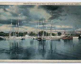 Fishing Boats Hillsborough River Tampa Florida 1917 postcard