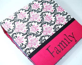 Girl Baby Memory Book Personalized Baby  Book Hot Pink Black Damask Modern baby Book Scrapbook Shower Gift Keepsake Album Pregnancy Journal