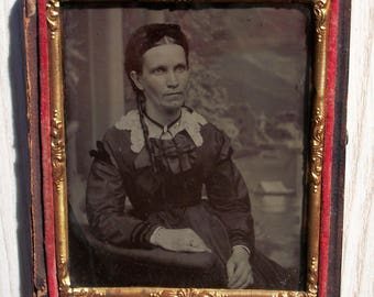Half Case Tintype Braided Lady w/ Tendril of Hair