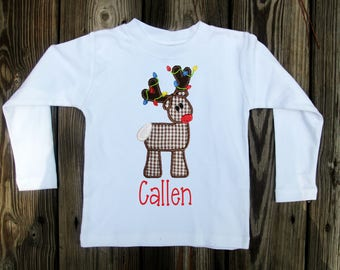 Boys Christmas Shirt - Boys Christmas Shirt - Reindeer Shirt - Christmas Applique Shirt - Boys personalized Shirt
