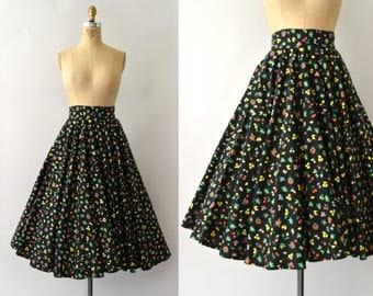 1950s Vintage Skirt - 50s Vegetable Print Circle Skirt - Novelty Print Cotton