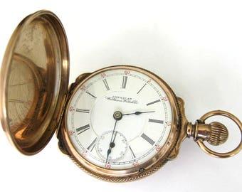 Antique 10K Solid Gold Waltham  Pocket Watch.Hunter Case, Size 18,11 Jewels,Sev'd & Run