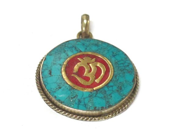 1 Pendant -  Tibetan OM pendant with turquoise coral inlay - PM567