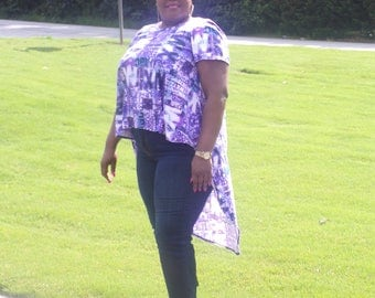 Purple, and blue print high/low tunic top