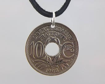 1918 French Coin Necklace, 10 Centimes, Coin Pendant, Mens Necklace, Womens Necklace, Leather Cord, Vintage, Birth Year