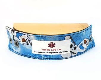 Medical Alert Bracelet Safety ID Fabric Band for Kids-Olaf