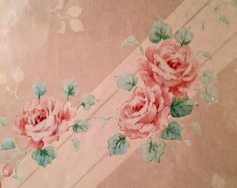 Vintage Pink Roses Gift Wrapping Paper 2 Sheets NEW Sealed Package Scrapbooking Ambassador Hallmark