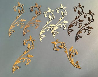 Floral Glittered Flourish  Die Cuts - Set of Eight