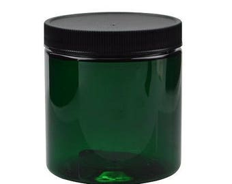 15  Plastic Jars, Green 4 ounce